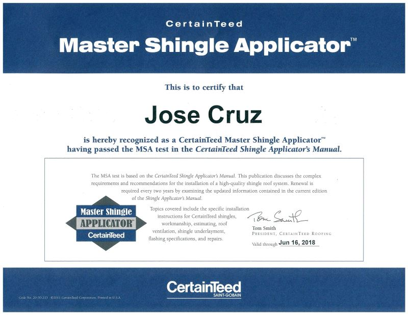 certainteed master shingle award