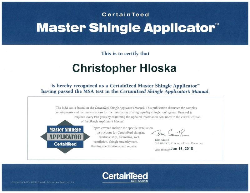 certainteed chris hloska award