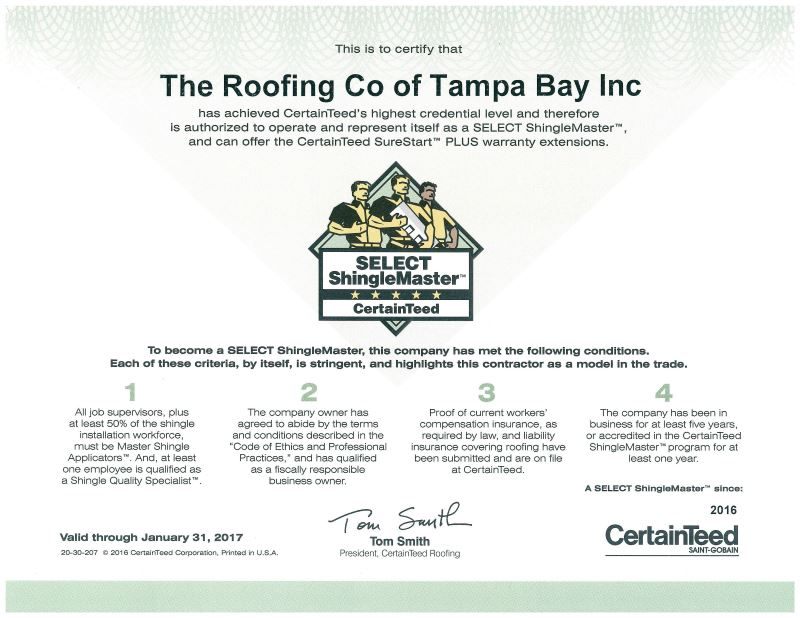 certainteed shingle select award