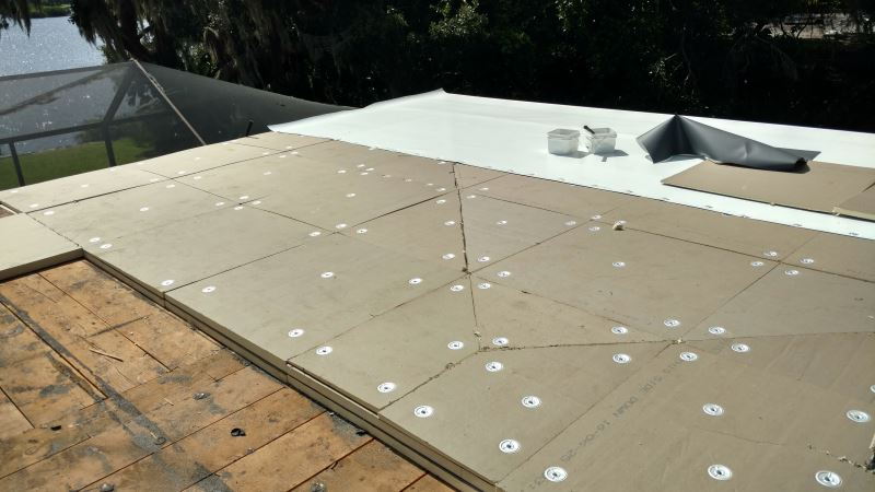 roofing progress of flat roof