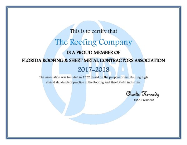 the roofing company FRSA reward