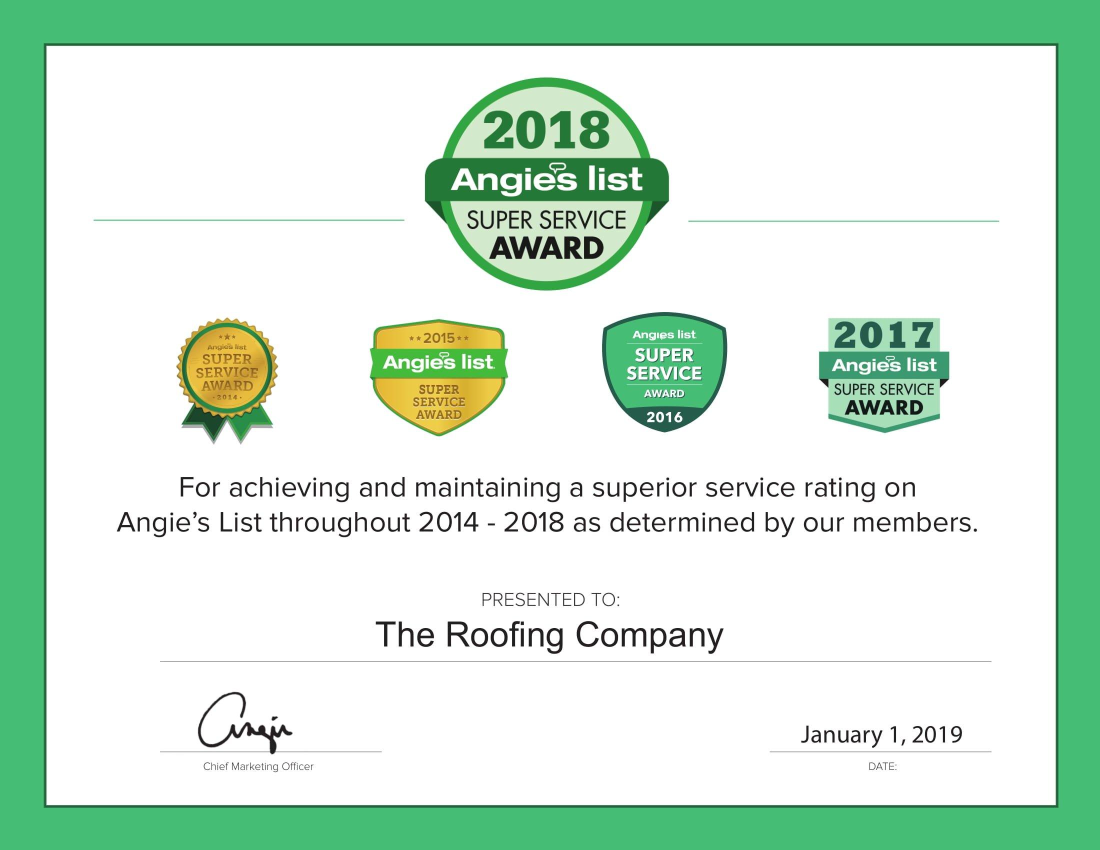 2018 angieslist award super service