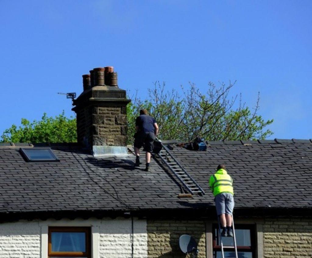 roof repair shot